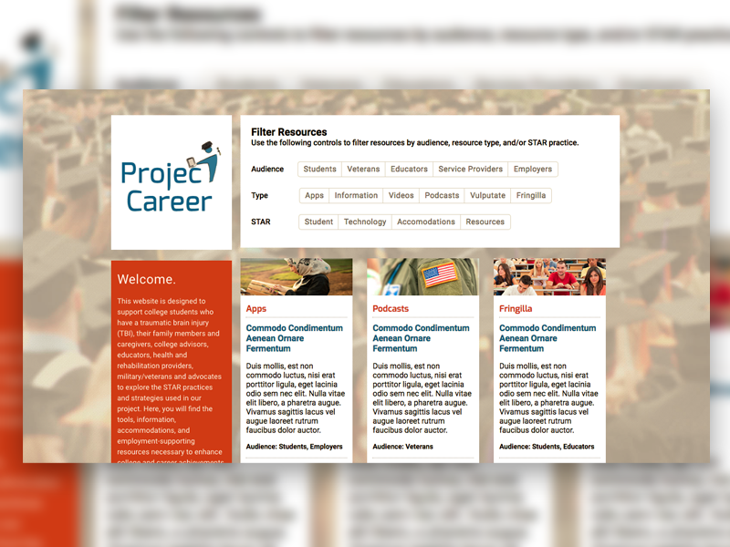 Image of Project Careers's homepage.